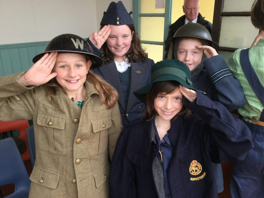 Pupils saluting